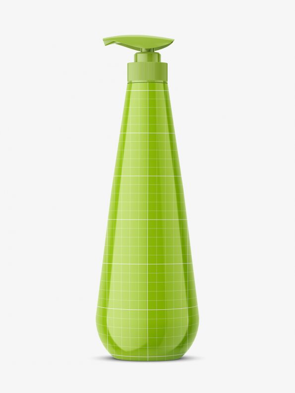 Curved bottle with pump / glossy