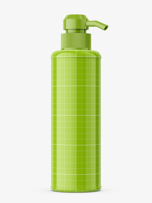 Bottle with pump mockup / glossy