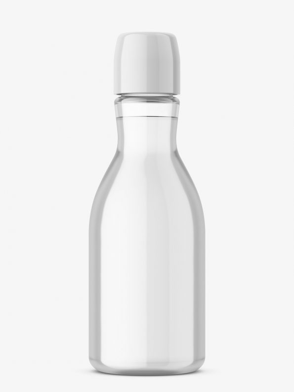Narrow neck bottle mockup / transparent