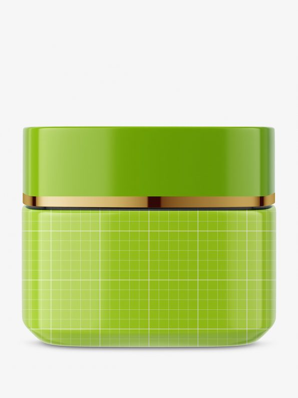 Square glass cosmetic jar