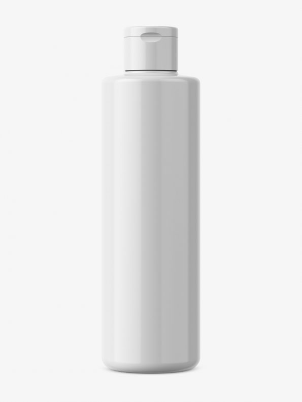 Simple round plastic bottle mockup / glossy