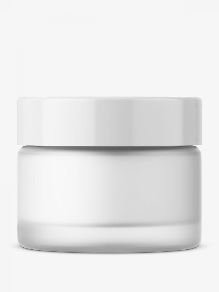 Frosted round glass cosmetic jar