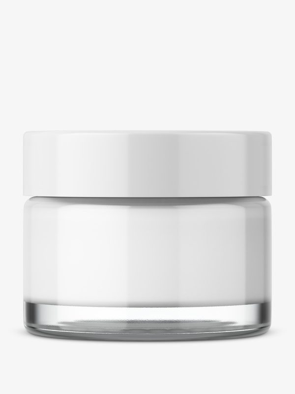 Round glass cosmetic jar
