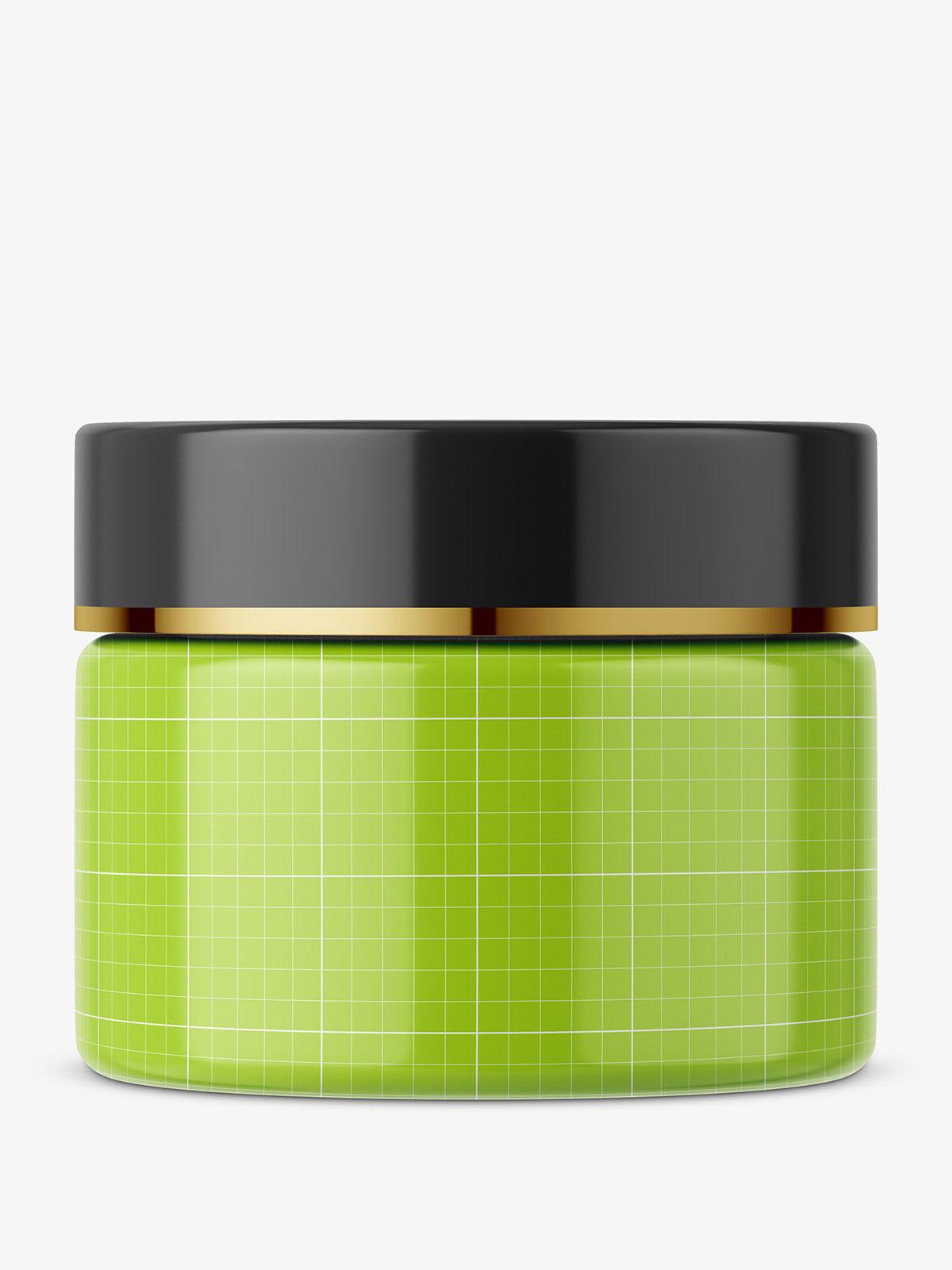 Round glass cosmetic jar