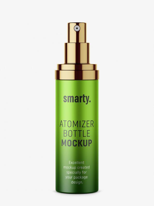 Metallic atomizer bottle mockup