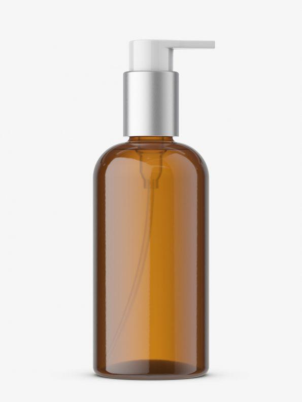 Bottle with elegant pump mockup / amber