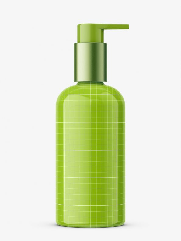 Bottle with elegant pump mockup / transparent