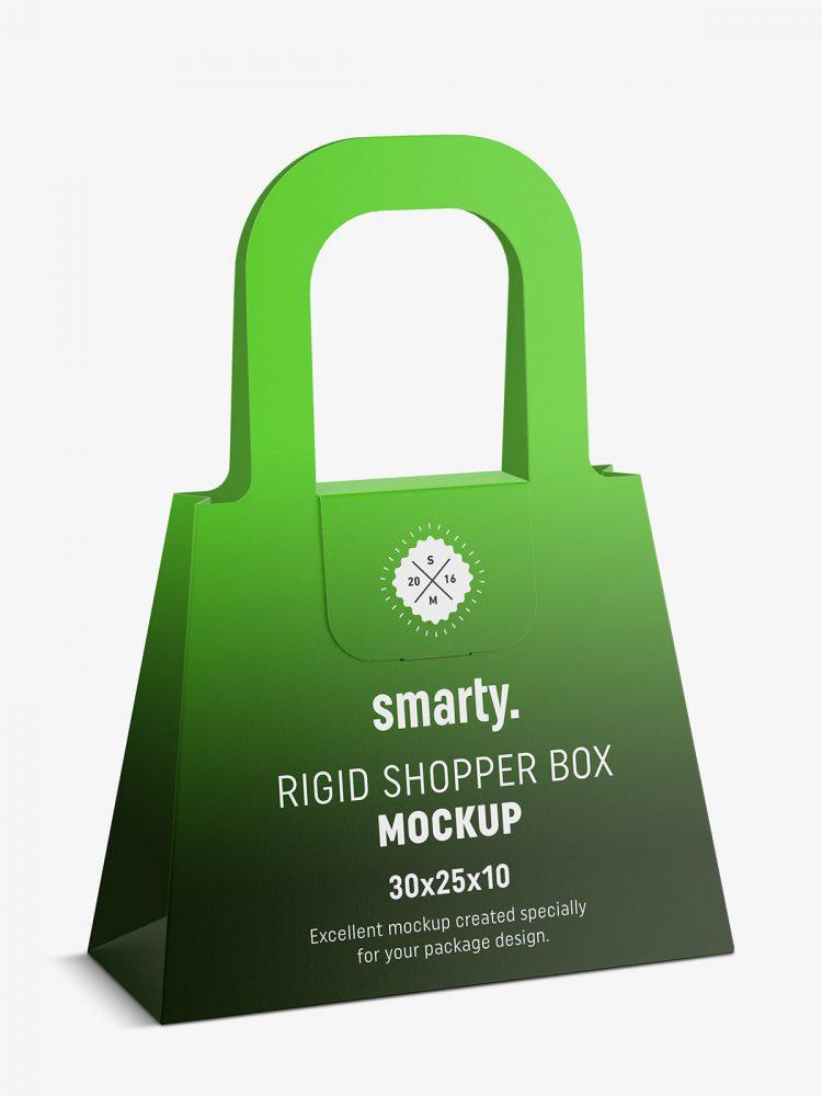 Rigid shopper box mockup