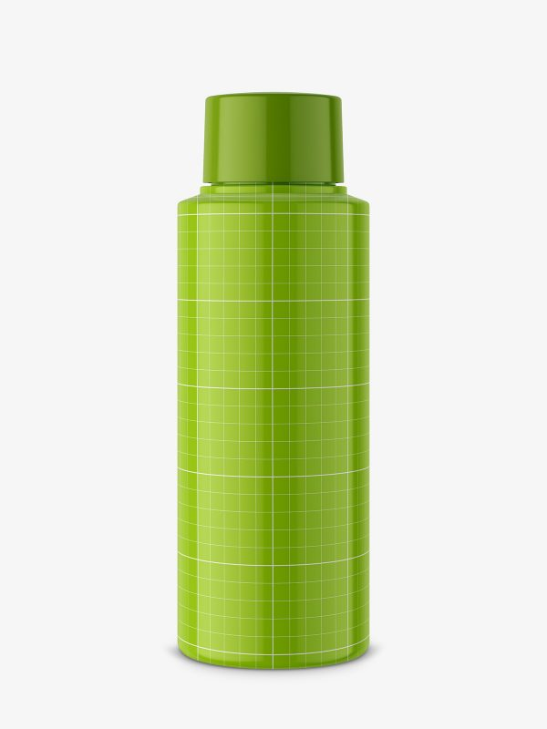 Small plastic glossy bottle mockup