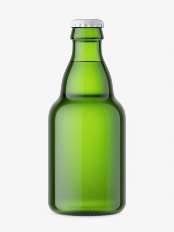 Small beer bottle mockup / green