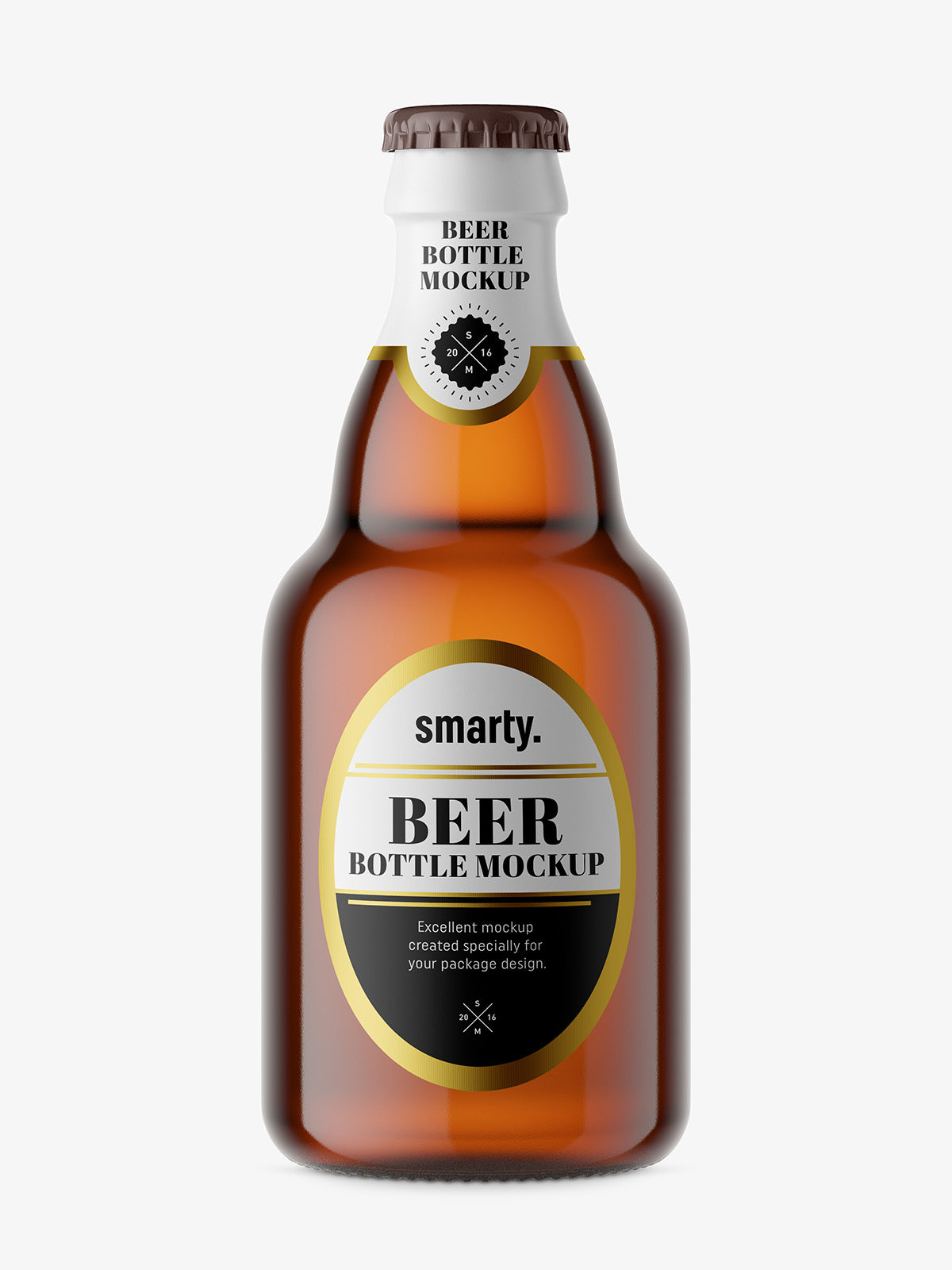 Small beer bottle mockup / brown - Smarty Mockups