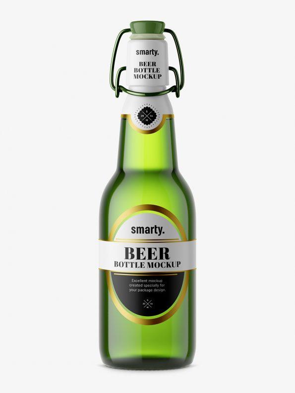 Beer bottle mockup with swing top / green