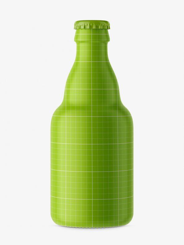 Small beer bottle mockup / brown