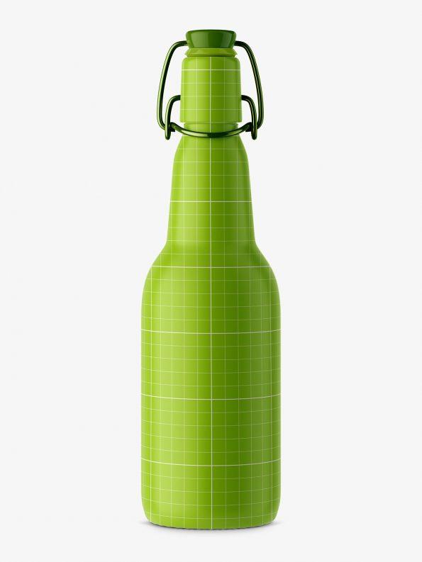 Beer bottle mockup with swing top / brown