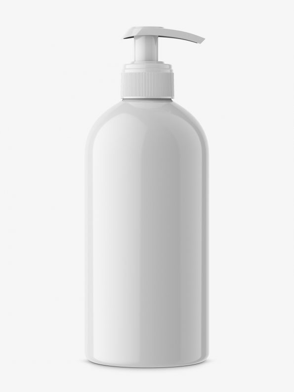 Universal glossy bottle with pump mockup