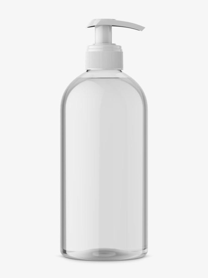 Universal transparent bottle with pump mockup