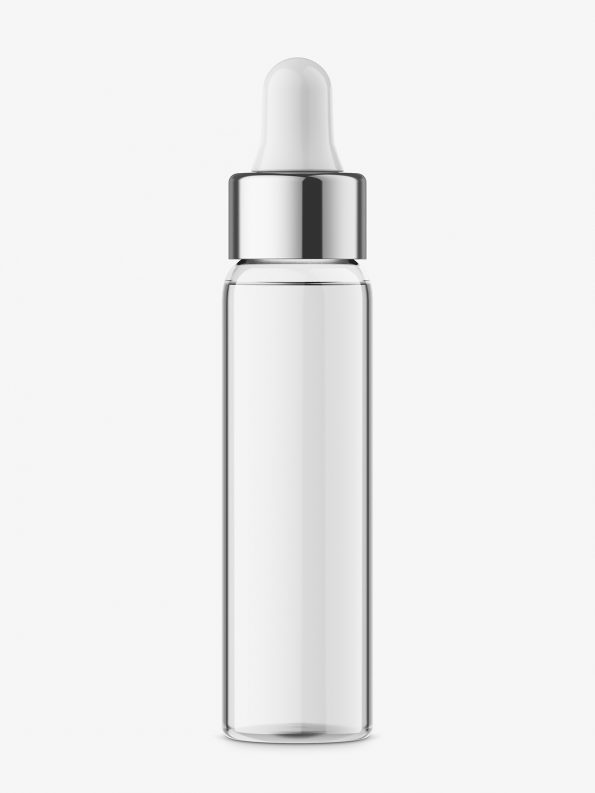Dropper bottle with silver ring mockup / transparent