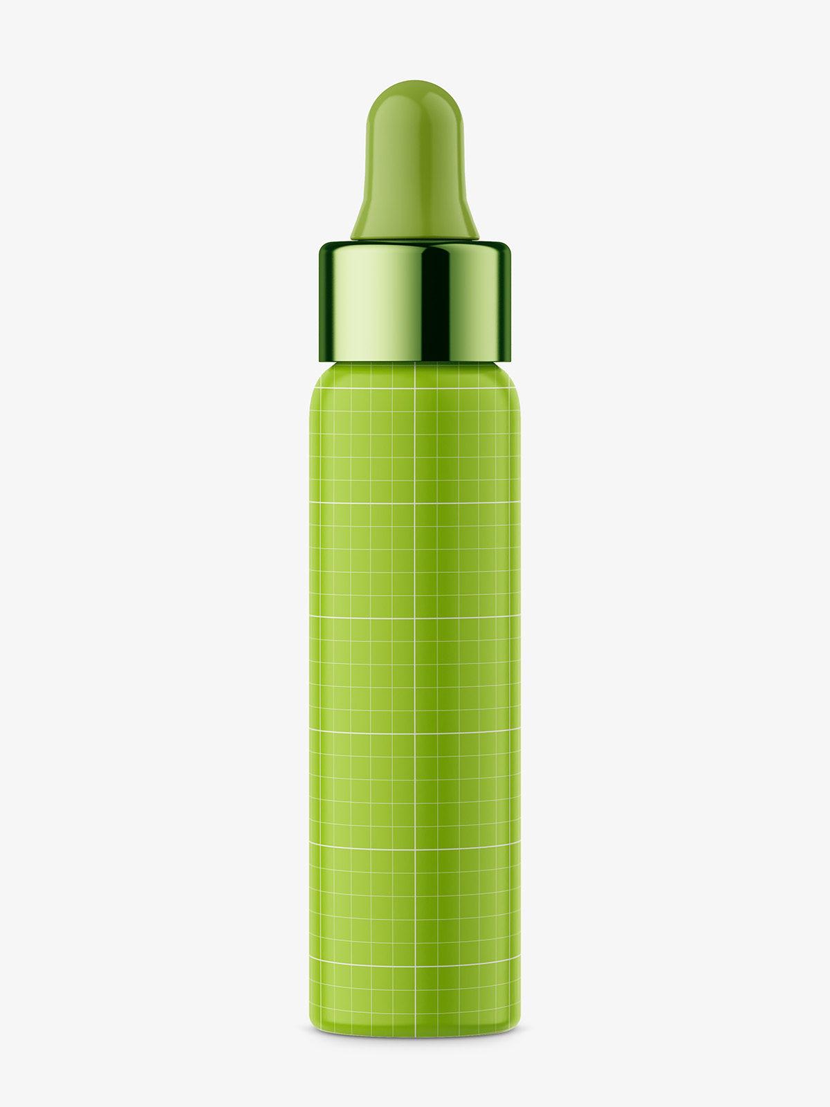 Dropper bottle with silver ring mockup / transparent