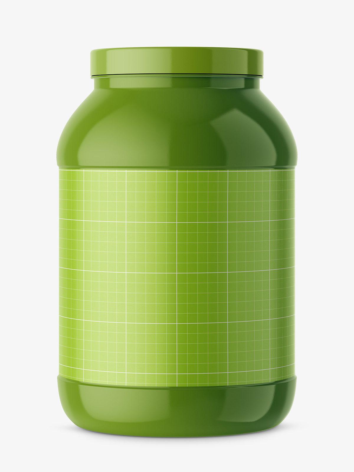 Big glossy nutrition jar mockup