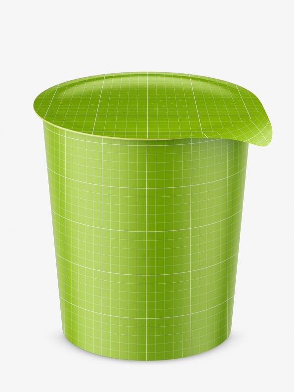 Instant food cup mockup / matt / top view