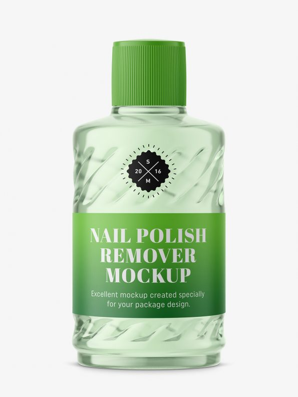 Nail polish remover glass bottle mockup