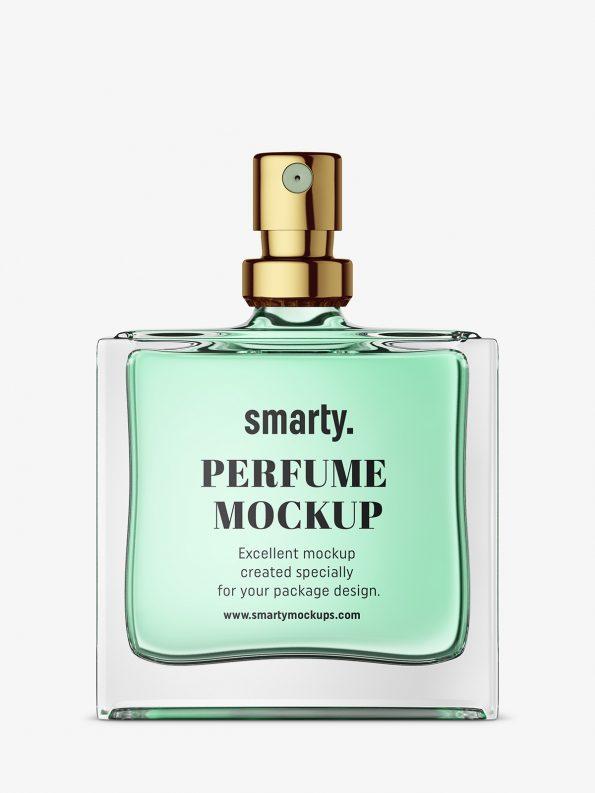 Glass perfume bottle mockup