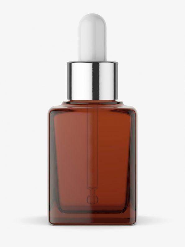 Square dropper bottle mockup / amber