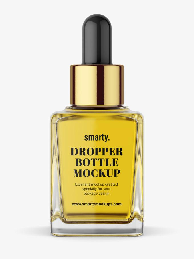Square dropper bottle mockup / transparent
