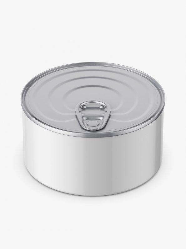 Glossy tin can mockup / top view