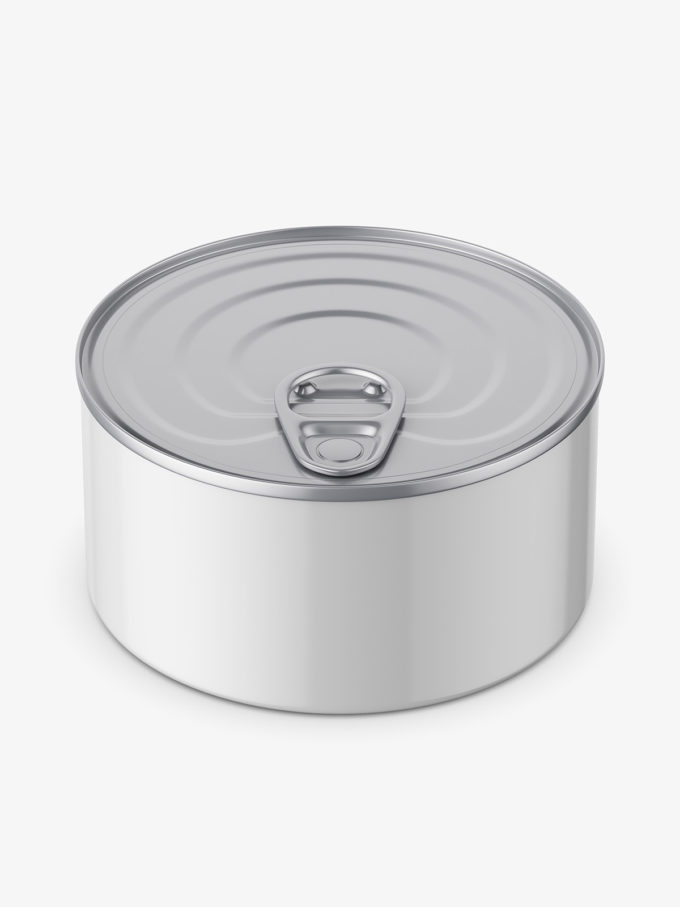 Glossy tin can mockup / top view