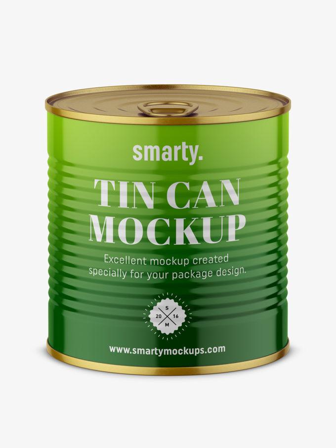 Tin can mockup / top view