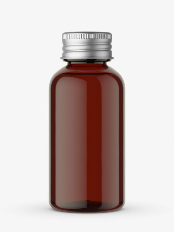 Amber bottle with silver cap mockup
