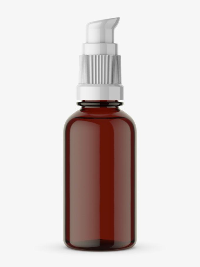 Amber bottle with pump mockup