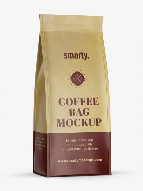 Eco paper coffee bag mockup