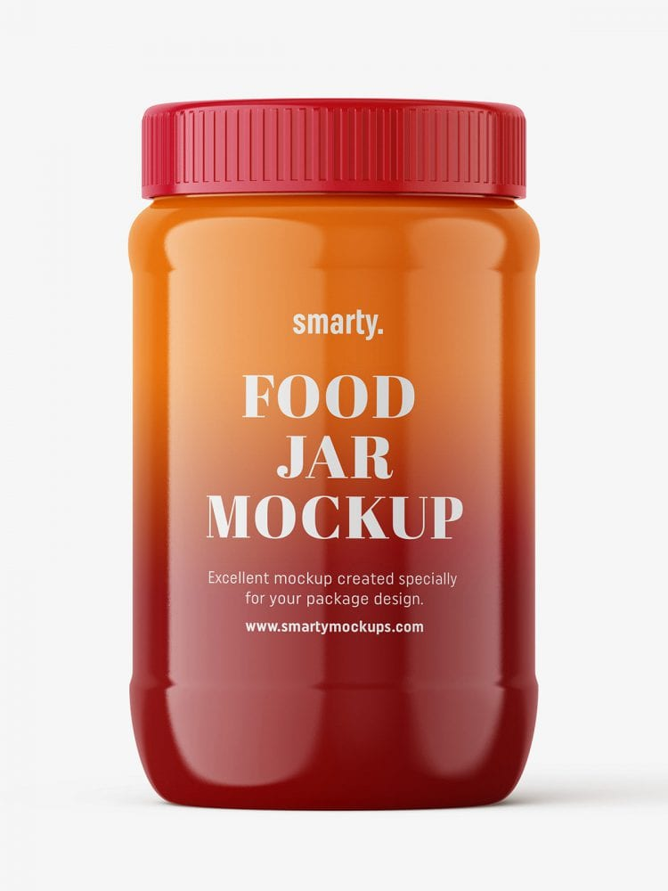 Glossy food jar mockup