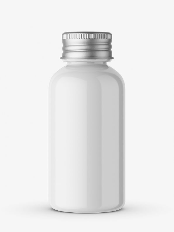 Glossy bottle with silver cap mockup