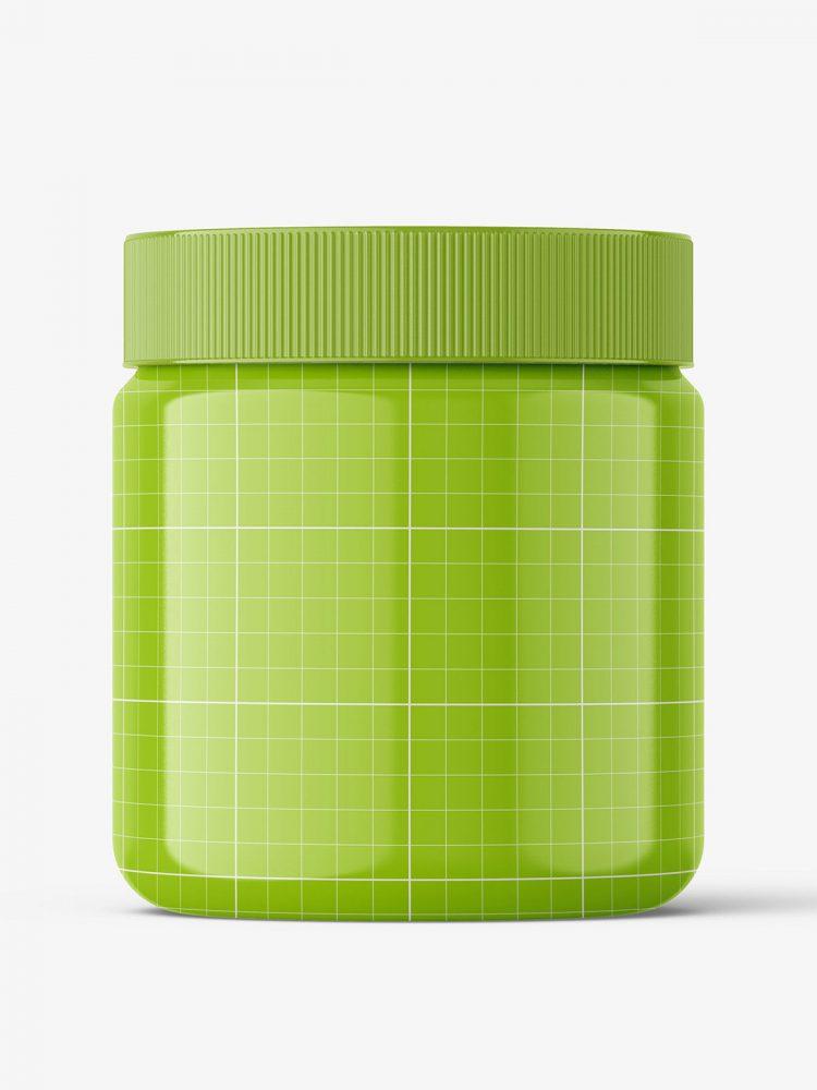 Glossy food jar mockup