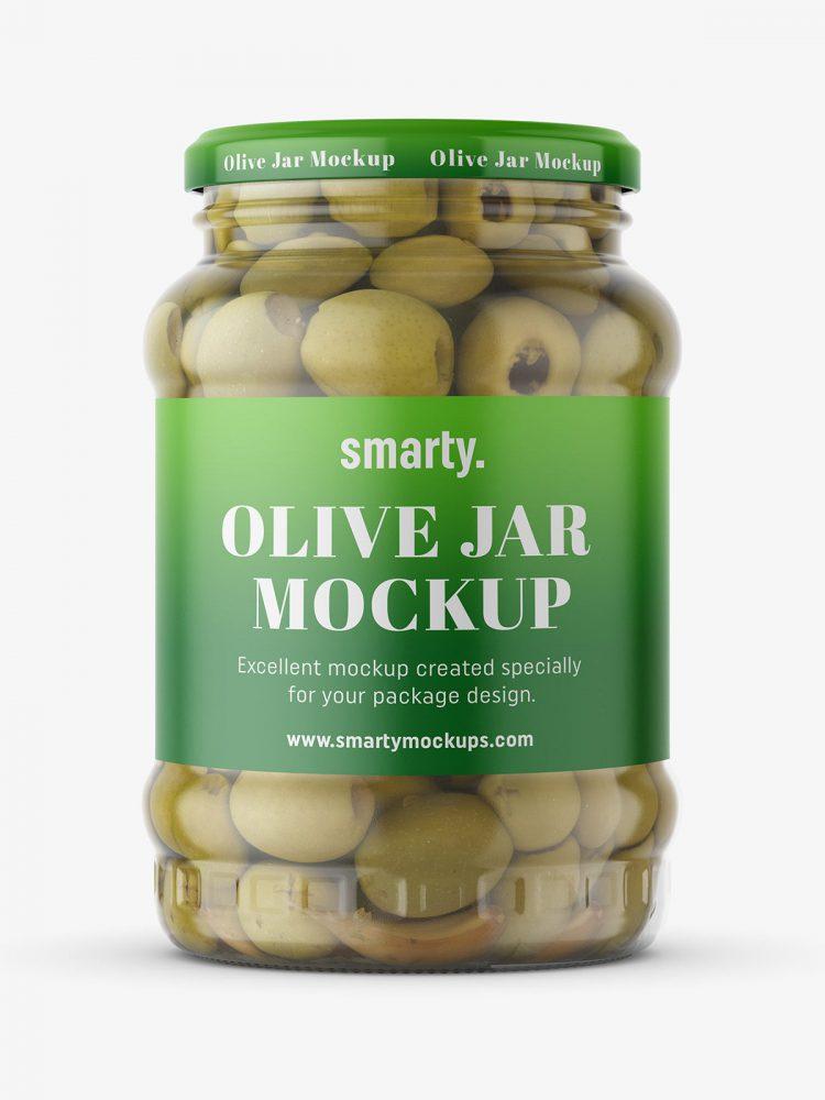 Large jar of olives mockup