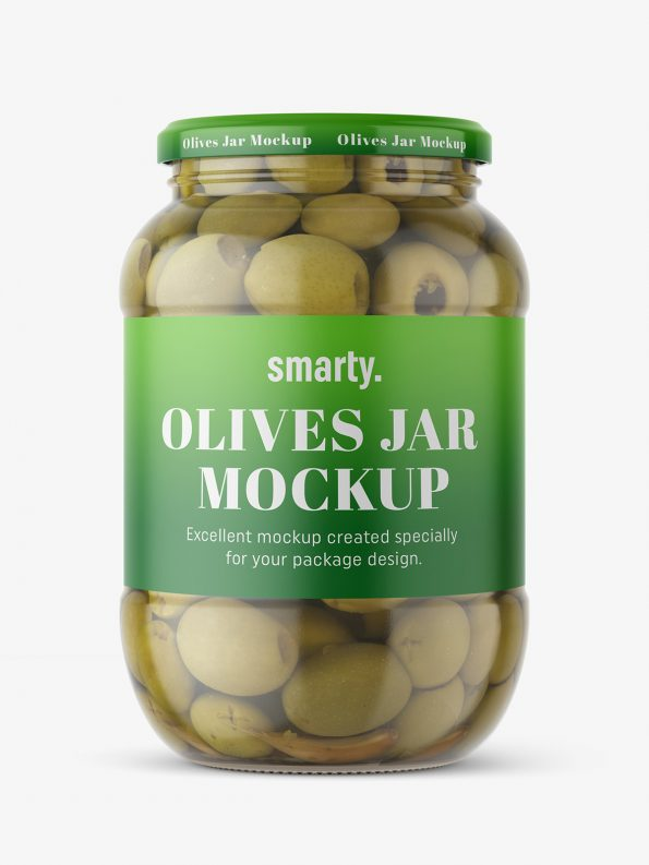 Large jar of olives mockup