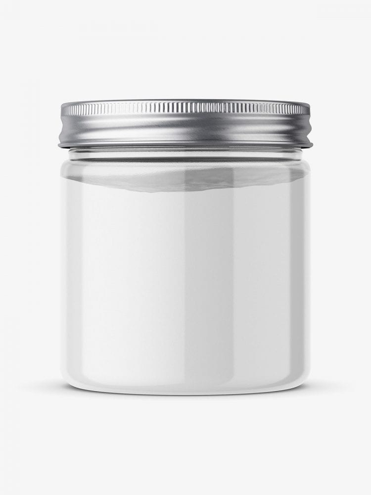 Clear jar with powder mockup