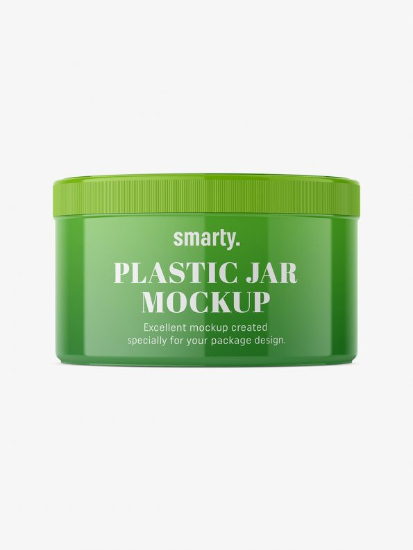 Glossy plastic jar mockup / 300 ml