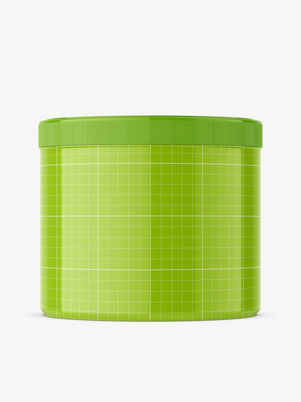 Glossy plastic jar mockup / 500 ml