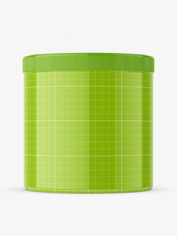 Glossy plastic jar mockup / 650 ml