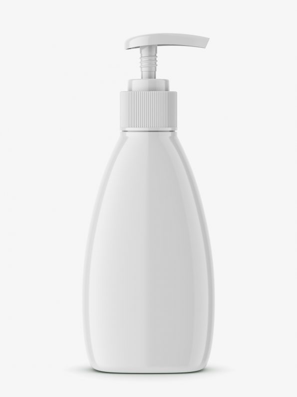 Triangle glossy bottle with pump mockup