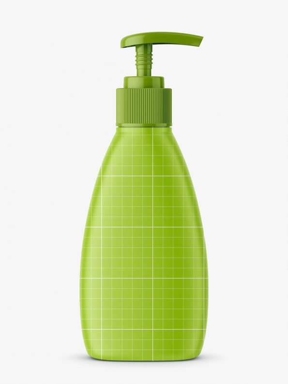 Triangle matt bottle with pump mockup