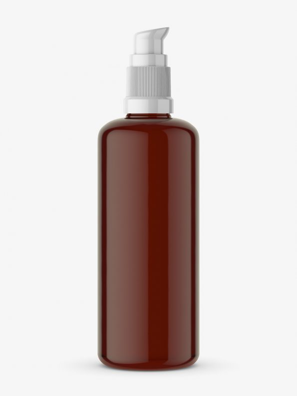 Amber bottle with push spray mockup