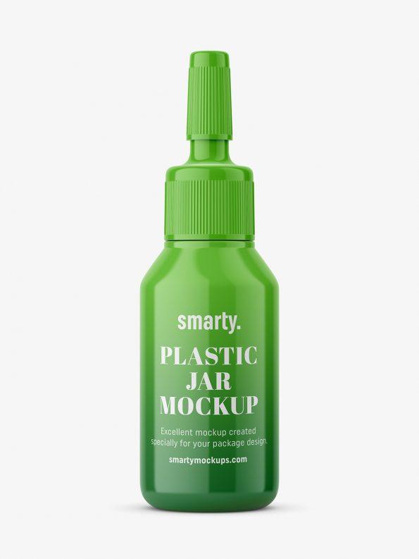 Glossy plastic ampoule bottle mockup