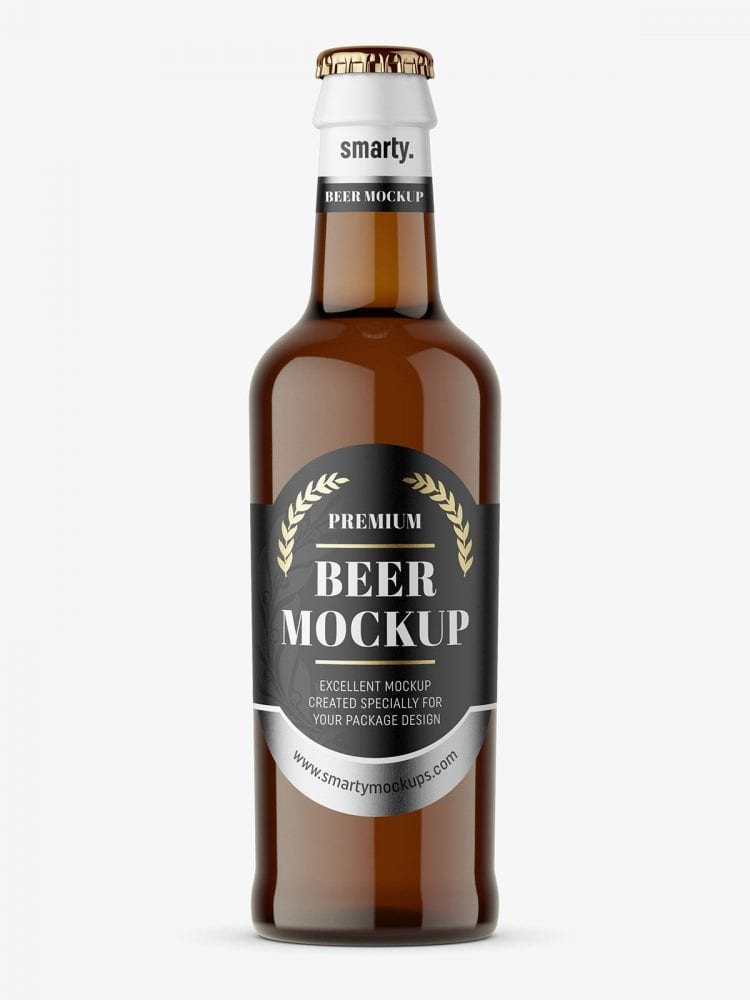Amber beer bottle mockup