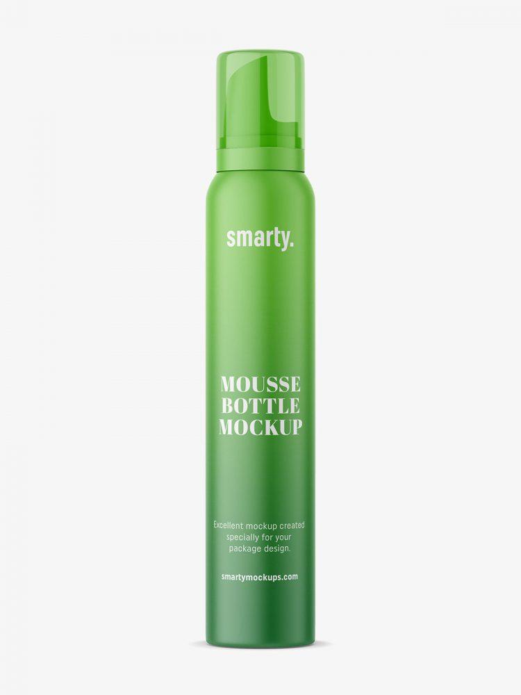 Matt hair foam bottle mockup