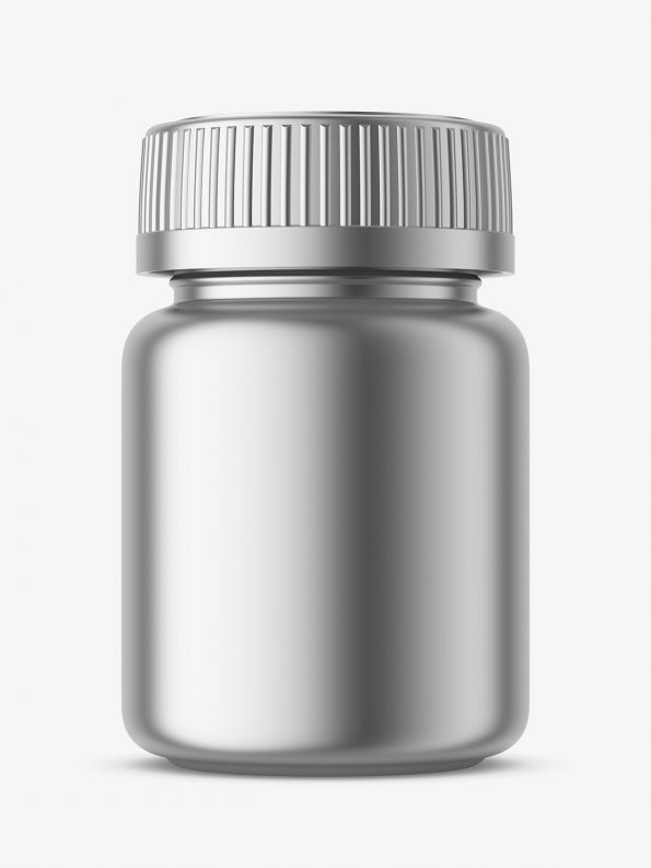 Metallic medical jar mockup